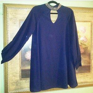 Embellished collar navy blue long sleeve dress